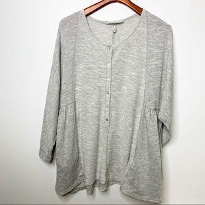 FREE PEOPLE Intimately Grey Loungewear Top Pockets
